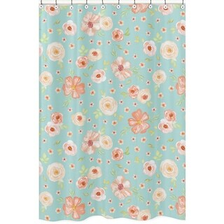 Sweet Jojo Designs Turquoise and Peach Watercolor Floral Collection Bathroom Fabric Bath Shower Curtain