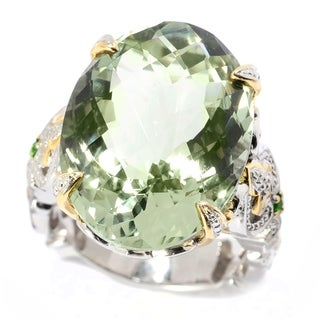 Michael Valitutti Palladium Silver Oval Checkerboard Cut Prasiolite Masterpiece Ring