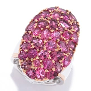 Michael Valitutti Palladium Silver Multi Shape Pink Tourmaline Cluster Ring