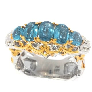 Michael Valitutti Palladium Silver Teal Kyanite Graduated 5-Stone Ring