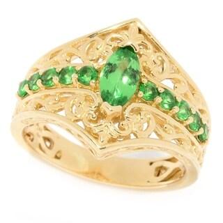 Michael Valitutti 14K Yellow Gold Marquise and Round Tsavorite Ring