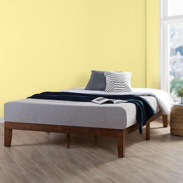 shop queen size 12 inch classic solid wood platform bed frame antique espresso crown comfort. Black Bedroom Furniture Sets. Home Design Ideas
