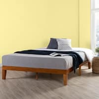 King Size 12 Inch Classic Solid Wood Platform Bed Frame, Cherry - Crown Comfort