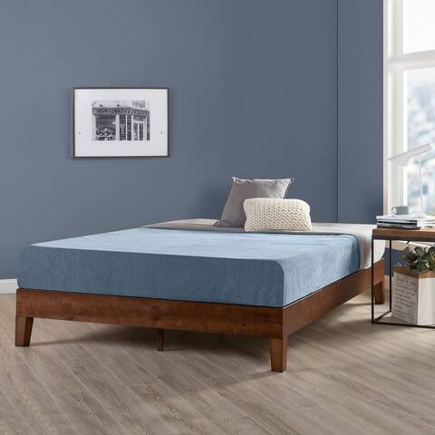 Queen Size 12 Inch Grand Solid Wood Platform Bed Frame, Antique Espresso - Crown Comfort