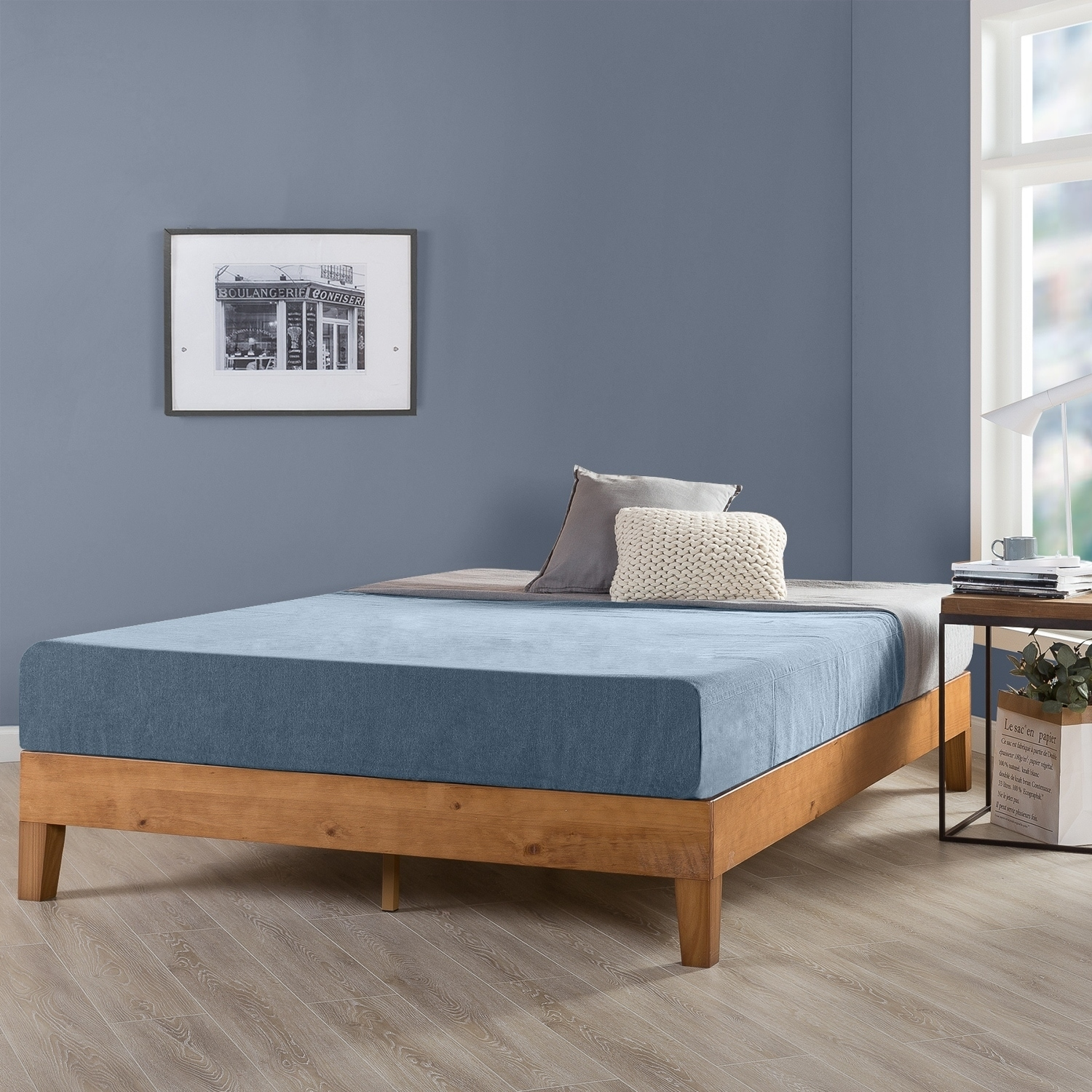 King Size 12 Inch Grand Solid Wood Platform Bed Frame, Natural - Crown Comfort (King - Casual/Traditional/Modern & Contemporary - Wood)