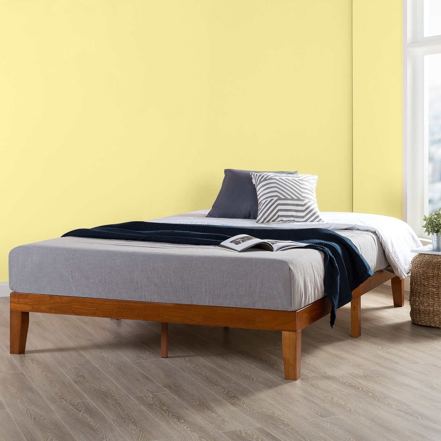 Twin Size 12 Inch Classic Solid Wood Platform Bed Frame, Cherry - Crown Comfort (Twin - Casual/Traditional/Modern & Contemporary - Wood)