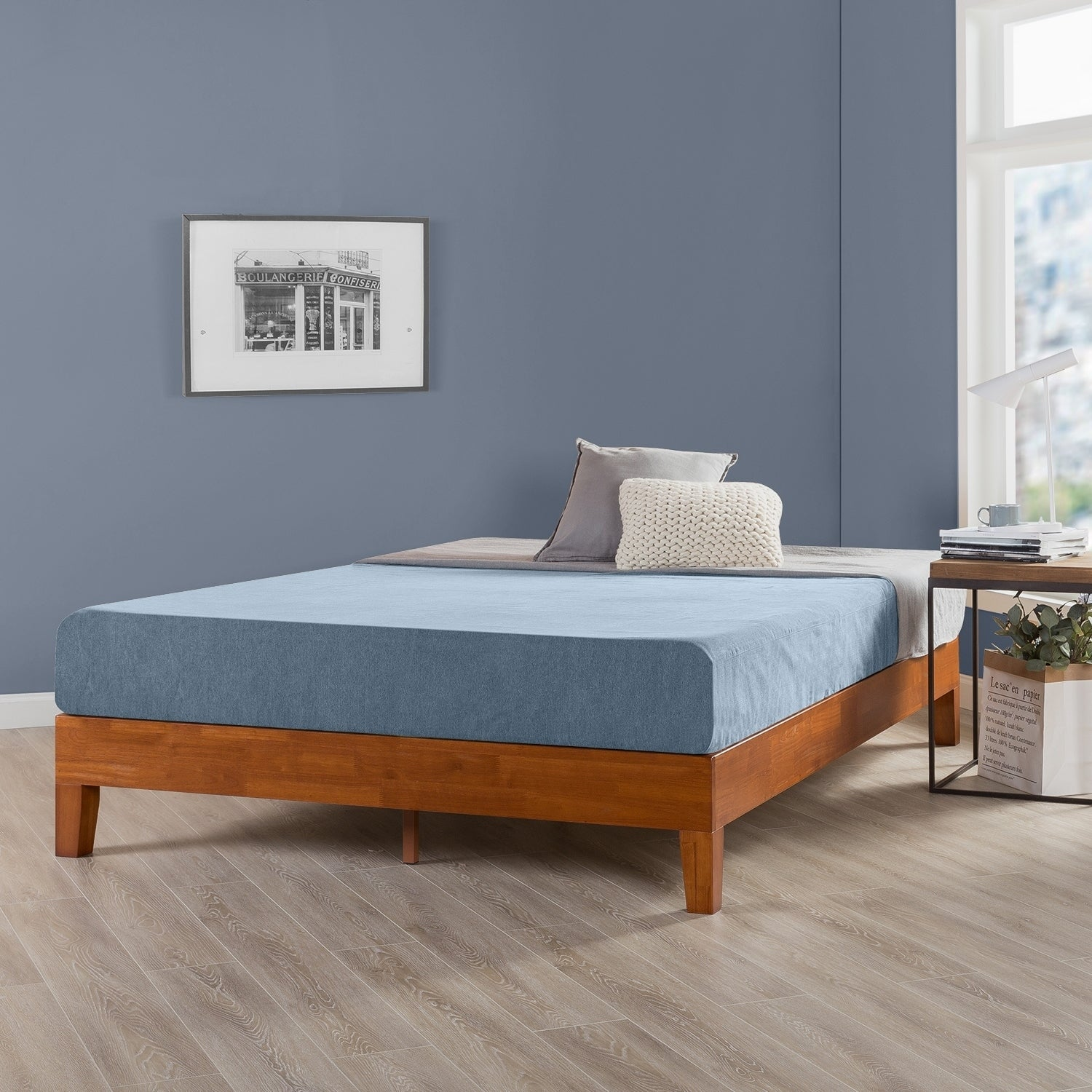 Twin Size 12 Inch Grand Solid Wood Platform Bed Frame, Cherry - Crown Comfort (Twin - Casual/Traditional/Modern & Contemporary - Wood)