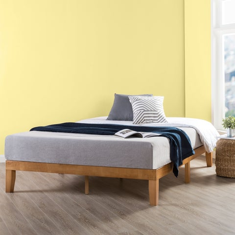Crown Comfort Classic Solid Natural Finish Wood King Size 12-inch Platform Bed Frame