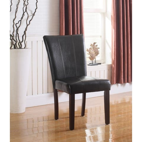 Best Master Furniture Upholstered Faux Leather Side Chair (Set of 2)