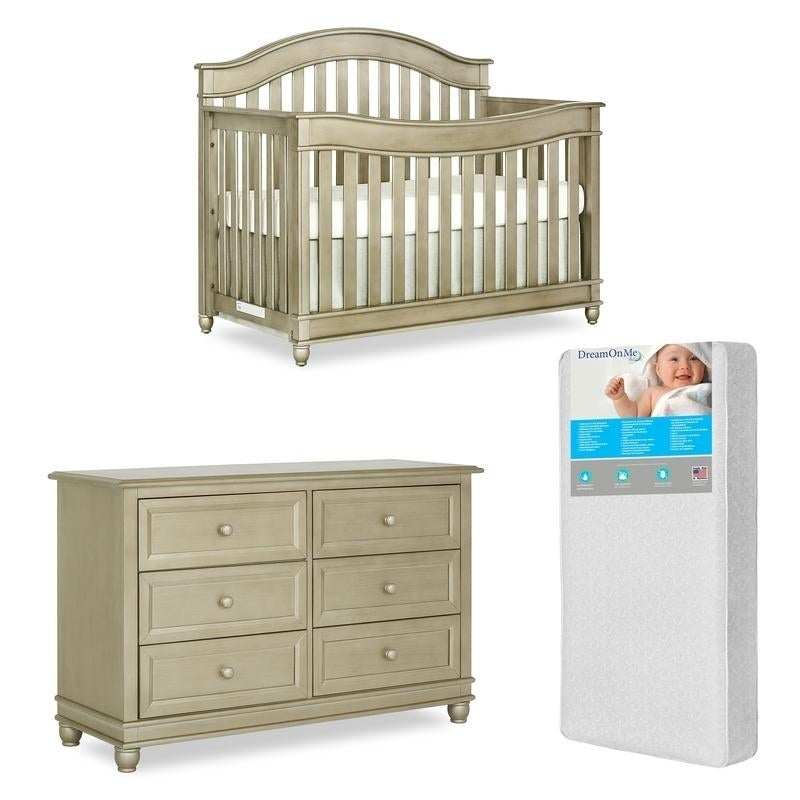 Evolur Hampton Crib AND Double Dresser With FREE 260 coil mattress