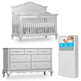 Evolur Aurora Crib and Double dresser with FREE 260 coil mattress