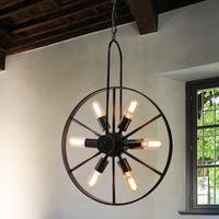 Kashton Antique Bronze 6-Light Pendant with Brown Shade