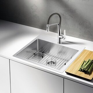 Single Hole Pull-Out Kitchen Faucet With Supply Lines In Chrome Finish