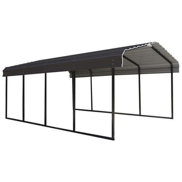 Steel Carport Galvanized Black/Charcoal