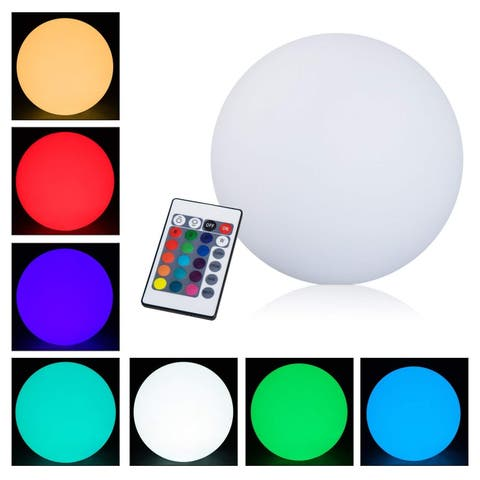 "HomCom 16"" RGB Adjustable 16 Color Changing Ball Globe Waterproof Rechargeable With Remote Control"