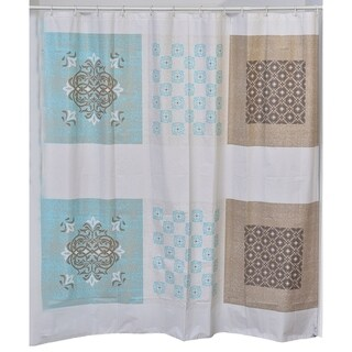 Evideco Faience Collection Printed Peva Liner Shower Curtain