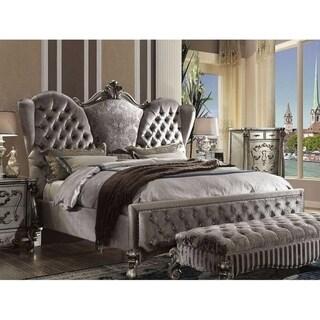 Batisa Velvet Antique Platinum Finish Bed (King)