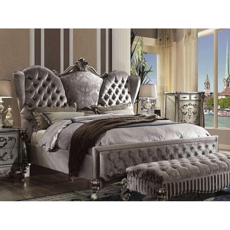 Batisa Velvet Antique Platinum Finish Bed (California King)