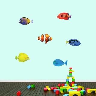 Real Life Fish Printed Wall Decal Set