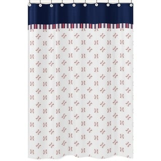 Sweet Jojo Designs Red White And Blue Baseball Patch Sports Collection Bathroom Fabric Bath Shower