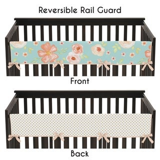Sweet Jojo Designs Turquoise, Peach and Gold Watercolor Floral Collection Long Crib Rail Guard Cover