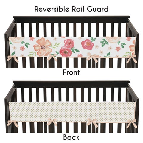 Sweet Jojo Designs Peach, Green and Gold Watercolor Floral Collection Long Crib Rail Guard Cover