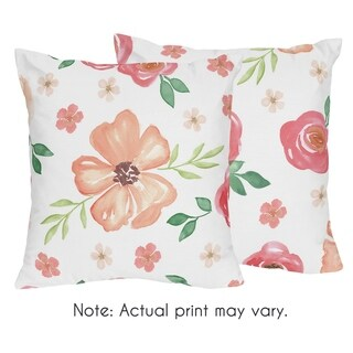 Sweet Jojo Designs Peach and Green Watercolor Floral Collection 18-inch Decorative Accent Throw Pillows (Set of 2)
