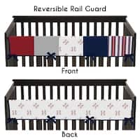 Sweet Jojo Designs Red, White and Blue Baseball Patch Sports Collection Long Crib Rail Guard Cover