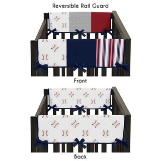 Sweet Jojo Designs Red, White and Blue Baseball Patch Sports Collection Side Crib Rail Guard Covers (Set of 2)