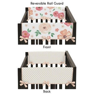Sweet Jojo Designs Peach, Green and Gold Watercolor Floral Collection Side Crib Rail Guard Covers (Set of 2)