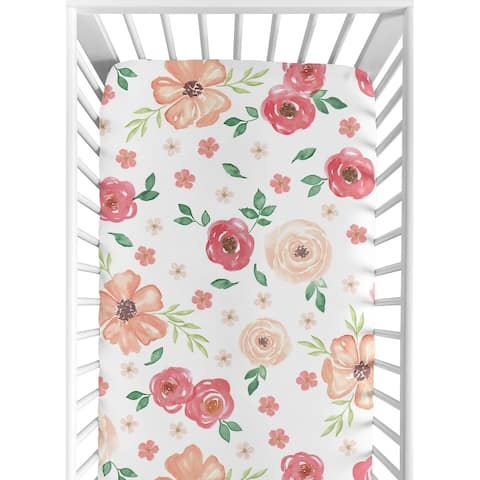 Sweet Jojo Designs Peach and Green Watercolor Floral Collection Fitted Crib Sheet