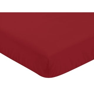 Sweet Jojo Designs Solid Red Baseball Patch Sports Collection Fitted Crib Sheet