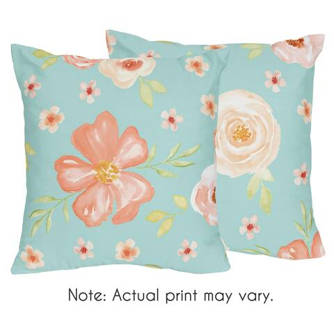 Sweet Jojo Designs Turquoise and Peach Watercolor Floral Collection 18-inch Decorative Accent Throw Pillows (Set of 2)