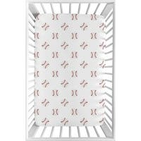 Sweet Jojo Designs Red and White Baseball Patch Sports Collection Fitted Mini Portable Crib Sheet