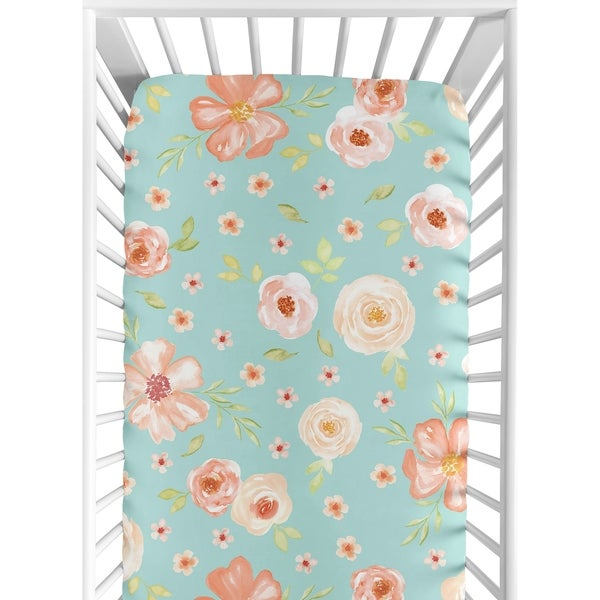 Sweet Jojo Designs Turquoise and Peach Watercolor Floral Collection Fitted Crib Sheet
