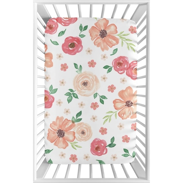 Sweet Jojo Designs Peach and Green Watercolor Floral Collection Fitted Mini Portable Crib Sheet
