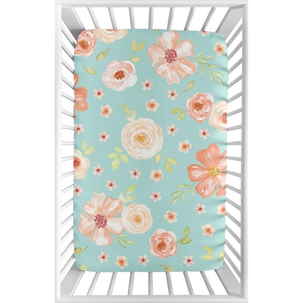 Sweet Jojo Designs Turquoise and Peach Watercolor Floral Collection Fitted Mini Portable Crib Sheet
