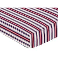 Sweet Jojo Designs Red and White Striped Baseball Patch Sports Collection Fitted Crib Sheet