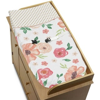Sweet Jojo Designs Peach, Green and Gold Watercolor Floral Collection Changing Pad Cover
