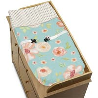 Sweet Jojo Designs Turquoise, Peach and Gold Watercolor Floral Collection Changing Pad Cover