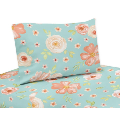 Sweet Jojo Designs Turquoise and Peach Watercolor Floral Collection 4-piece Queen Sheet Set