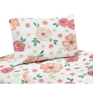 Sweet Jojo Designs Peach and Green Watercolor Floral Collection 3-piece Twin Sheet Set