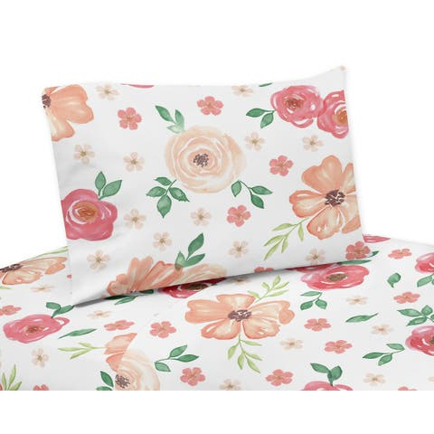 Sweet Jojo Designs Peach and Green Watercolor Floral Collection 4-piece Queen Sheet Set