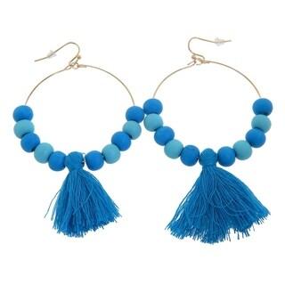 Eternally Haute Blue Wood Bead Tassel Hoop Earrings; 50mm Diameter