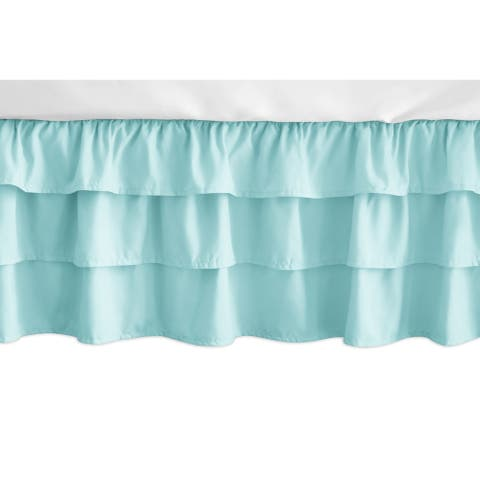 Sweet Jojo Designs Solid Turquoise Feather Girl Collection 3 Tiered Ruffled Crib Bed Skirt