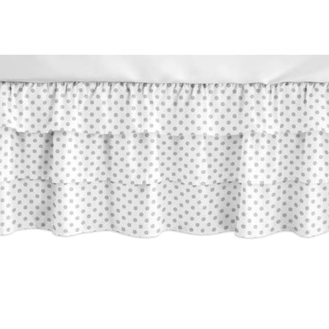 Sweet Jojo Designs Grey and White Polka Dot Watercolor Floral Girl Collection 3 Tiered Ruffled Crib Bed Skirt