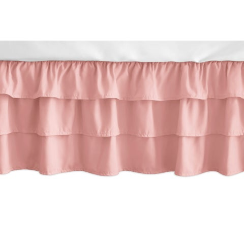 Sweet Jojo Designs Solid Coral Feather Girl Collection 3 Tiered Ruffled Crib Bed Skirt