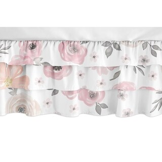 Sweet Jojo Designs Blush Pink and Grey Shabby Chic Watercolor Floral Girl Collection 3 Tiered Ruffled Crib Bed Skirt