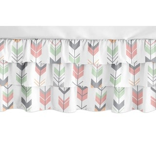 Sweet Jojo Designs Coral, Mint and Grey Woodland Mod Arrow Girl Collection 3 Tiered Ruffled Crib Bed Skirt