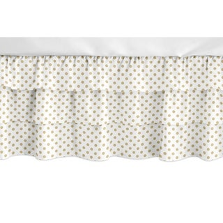 Sweet Jojo Designs Gold and White Polka Dot Watercolor Floral Girl Collection 3 Tiered Ruffled Crib Bed Skirt